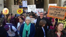 Protesters gather at the demonstration against the incinerator