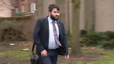 Mark Faulkner arriving at Warrington Crown Court today.