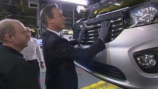 David Cameron at the Vauxhall factory in Luton on Tuesday.