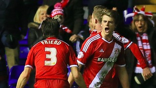 Middlesbrough's Patrick Bamford (facing) celebrates scoring his side's first goal of the game against Birmingham City with George Friend