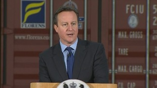 Prime Minister David Cameron speaking in Felixstowe, Suffolk.