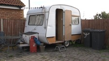 A caravan on the site