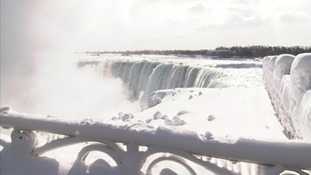 Sub zero tempratues have led to parts of Niagara Falls freezing over