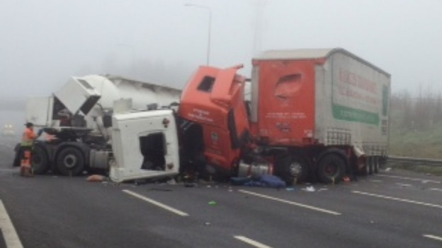 Lorries involved in the crash on the M1 in the early hours of this morning