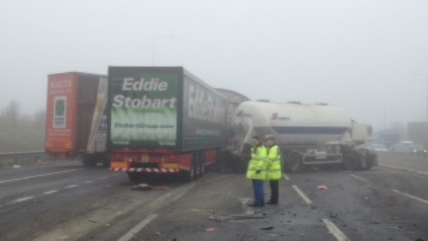 Five lorries were involved in the collision on the M1