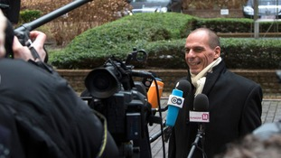 Greek Finance Minister Yanis Varoufakis arriving in Brussels today.