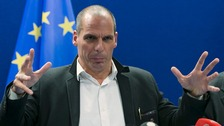 Greek Finance Minister Yanis Varoufakis speaking after the agreement tonight in Brussels.