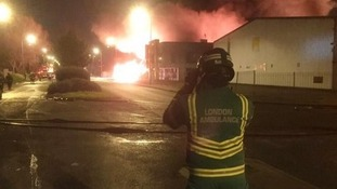 Fire at a warehouse in London