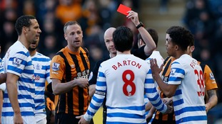 QPR captain Joey Barton apologises for 'stupid' red card for punching Tom Huddlestone