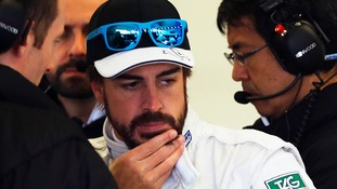 Fernando Alonso crashes into wall during Formula One testing