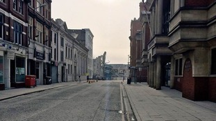 A deserted street near the exclusion zone in Leicester