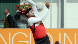 India's Harbhajan Singh bowling in the nets at Lord's Cricket Ground, London.