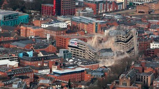 This is the scene from the air as Leicester's New Walk Centre met its explosive end