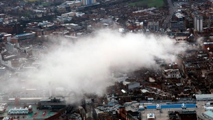 The plumes of dust could be seen for miles across the city