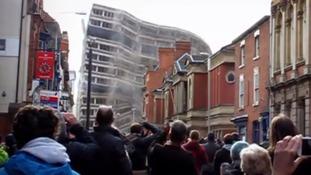 Crowds in Pocklingtons Walk watching New Walks final demise