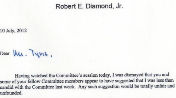 Bob Diamond's letter to Treasury Select Committee chairman Andrew Tyrie.