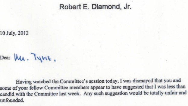  Bob Diamond&#x27;s letter to Treasury Select Committee chairman Andrew Tyrie.