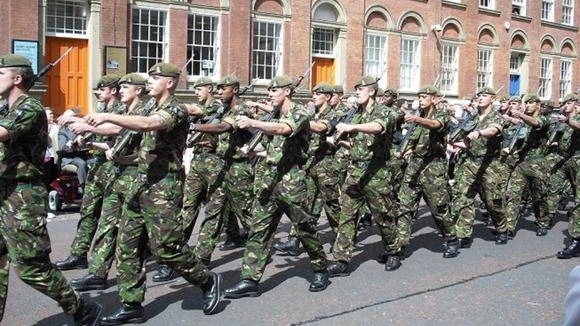 Yorkshire Regiment on parade