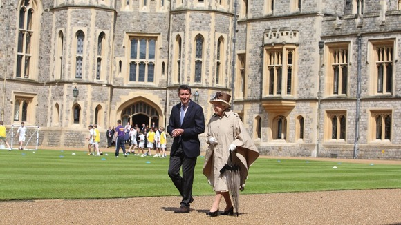 The Queen talks to LOCOG chairman Lord Sebastian Coe.