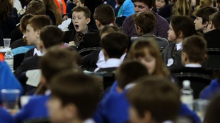School pupils take part in Guinness World Records for the 'Largest practical science lesson' at the Odyssey Arena, Belfast