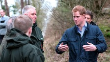 Prince Harry talks to staff of the Northumberland Wildlife Trust