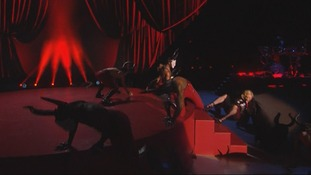 Madonna took a tumble during her much anticipated Brits performance.