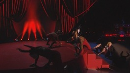 Madonna takes a tumble during Brits performance