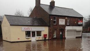 Flooding off the A69 at Warwick Bridge
