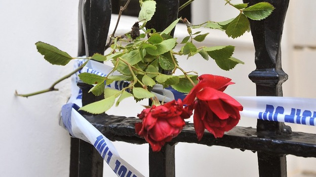 A floral tribute has been laid outside the Chelsea home of Eva and Hans Rausing.