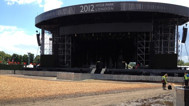 The deserted stage in Hyde Park where tonight&#x27;s Hit Factory concert with Kylie and Jason was due to take place.