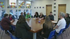 Parents at a meeting to discuss the future of Durham Free School