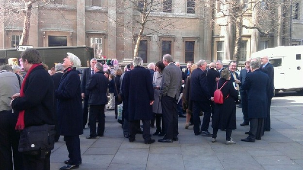 Crowds outside St Martin-in-the-Fields