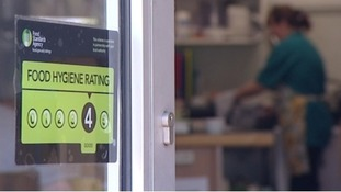 Food hygiene rating being displayed