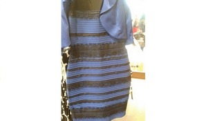 The dress is blue and black.