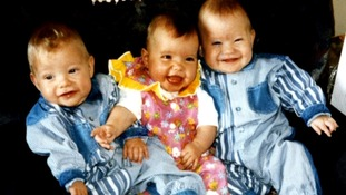 The Rowe triplets as babies