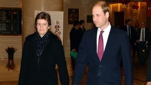 The Duke of Cambridge with British Ambassador Barbara Woodward