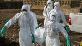 Health workers carry the body of a suspected Ebola victim
