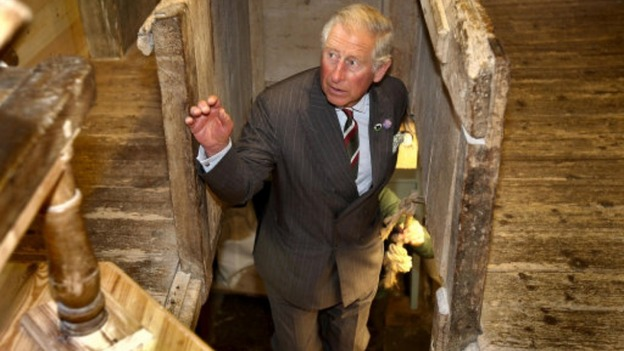Prince Charles in a restored mill