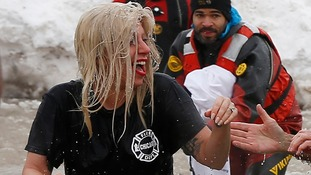 Lady Gaga takes icy plunge in Chicago's Lake Michigan for charity