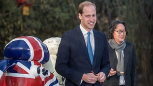 The Duke of Cambridge painted the eye of a Shaun the Sheep sculpture at the British Ambassador's official residence in Beijing