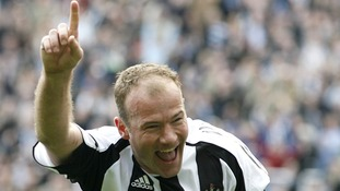 Shearer in classic goal-scoring pose
