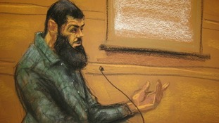 A court sketch of Naseer during his trial.