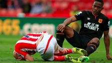Stoke City's Stephen Ireland on the ground injured after a after a tackle from Hull City's Maynor Figueroa