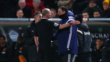 Sunderland manager, Gus Poyet is sent to the stands by referee Mike Dean during the Barclays Premier League match at the KC Stadium, Hull.