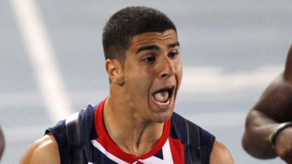 Gemili celebrates his record-breaking win.