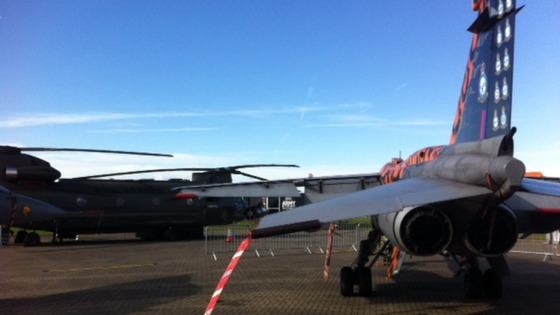 Aircraft on the runway at RAF Cosford for today&#x27;s Royal visit