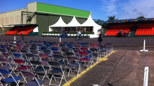 The stage is set and chairs are out at RAF Cosford for this morning's visit