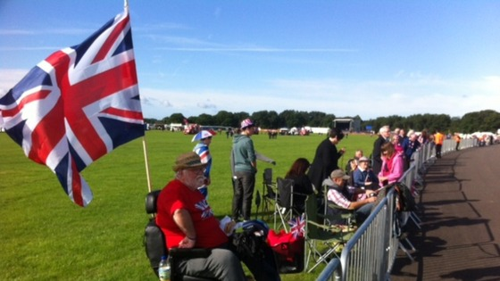 Claiming a good spot to see the Royal couple when they arrive at RAF Cosford at 11:40am