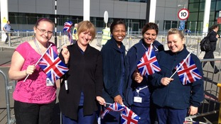 Nurses from the QE Hospital also in wait for the Royal party who are due to arrive at 10:35am