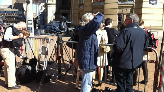 Photographers and cameramen in position to film the Royal couple